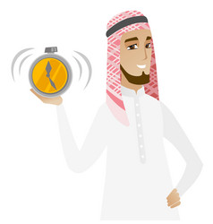 Muslim businessman holding alarm clock vector