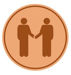 people handshake bronze coin vector image