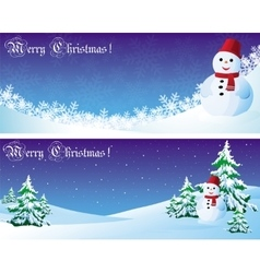 postcard with snowman and gift vector image