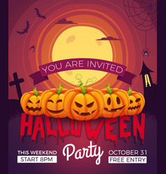 Poster invitation for halloween party vector