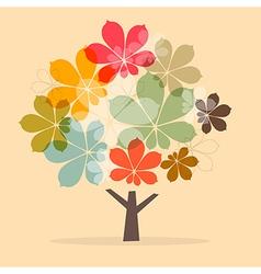 Retro paper abstract chestnut tree vector
