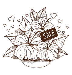 Sale bouquet of flowers outline drawing for design vector