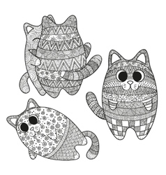 Set of boho cats vector