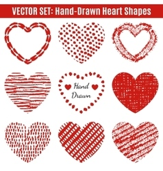 Set of hand-drawn textures heart shapes vector image vector image