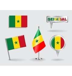Set of Senegalese pin icon and map pointer flags vector image