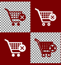 Shopping cart with delete sign bordo and vector