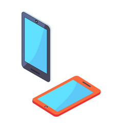 smartphone portable cellphones in isometric design vector image vector image