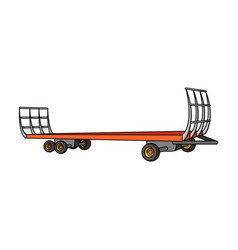 specialized trailer on wheels for trucks for vector image vector image
