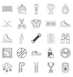 Sports hall icons set outline style vector