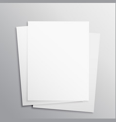 Stack of three empty papers mockup template vector