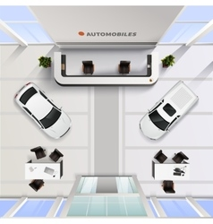 Top view office interior of automobile salon vector