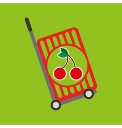 Trolley shop juicy cherry fruit vector