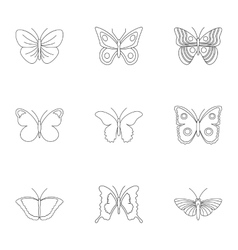 Types of butterflies icons set outline style vector
