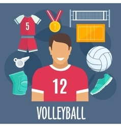 Volleyball sport equipment and outfit vector
