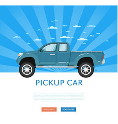 Website design with pickup truck vector