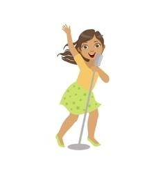 Girl in green skirt singing in karaoke vector