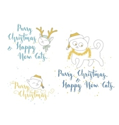 Humorous christmas and new year greetings with vector