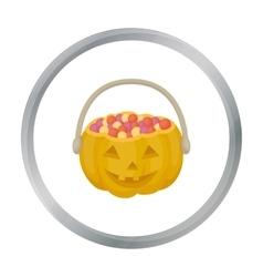 Halloween bucket icon in cartoon style isolated on vector image