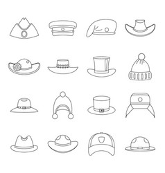 headdress hat icons set outline style vector image