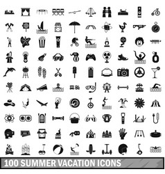 100 summer vacation icons set simple style vector