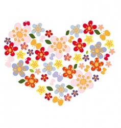 Heart of flowers and butterflies vector