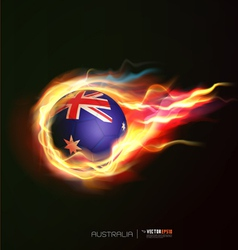Australia flag with flying soccer ball on fire vector image