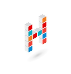 3d cube letter h logo icon design template vector