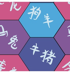 Seamless background with signs of chinese zodiac vector