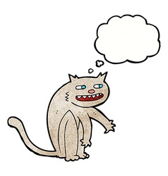 Cartoon happy cat with thought bubble vector