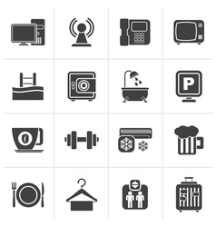 Black hotel amenities services icons vector