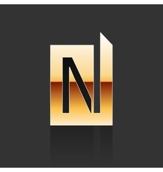 Gold letter n shape logo element vector