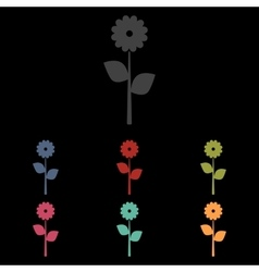 Flower icon on black vector