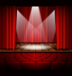 A theater stage with a red curtain vector