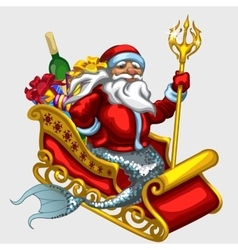 Santa claus with mermaid tail on a sled vector