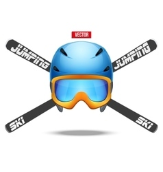 Ski jumping symbol badges and labels vector