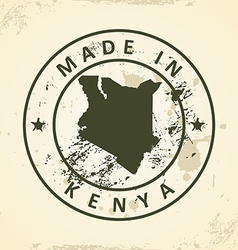 Stamp with map of Kenya vector image