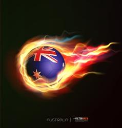Australia flag with flying soccer ball on fire vector