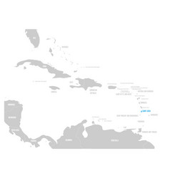 Bahamas blue marked in the map of caribbean vector