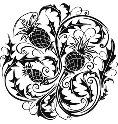 black and white stylized image of a thistle vector image vector image