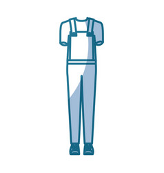 Blue silhouette shading of overall man clothing vector