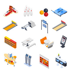 Bowling isometric icons vector
