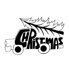 Car with a christmas tree christmas vector