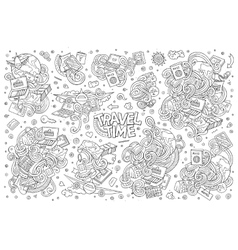 doodle cartoon set of travel theme items vector image vector image