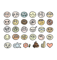 emoticon doodles set vector image