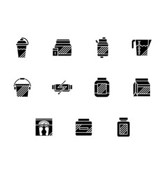 fitness nutrition glyph style icons set vector image