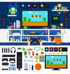 Gamer room interior with gadgets vector