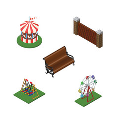 Isometric street set of seesaw recreation vector