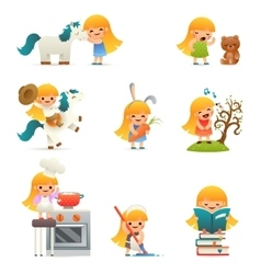 Little happy girl smiling child icon set concept vector