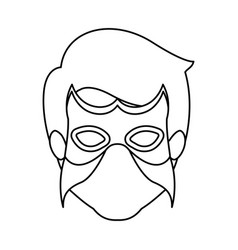 Monochrome contour faceless of man superhero with vector