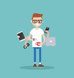 Multitasking millennial concept young nerd using vector